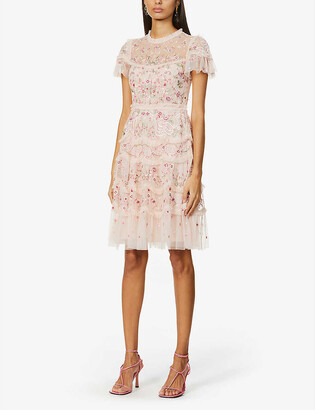 Needle And Thread Elsie floral-embroidered woven mini dress