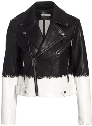 Alice + Olivia Cody Two-Tone Leather Crop Moto Jacket