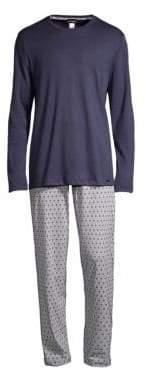 Hanro Men's Two-Piece Cotton Pajama Set - Blue Minim - Size Small