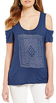 Jessica Simpson Ezra Graphic Cold-Shoulder Short-Sleeve Tee