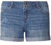 Dorothy Perkins Womens Petite Blue Mid Wash Boyfriend Shorts- Blue