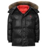 Armani Junior Black Padded Coat With Fur Trim