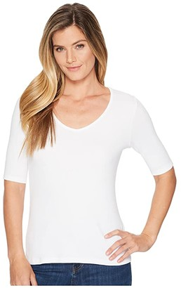 Lilla P Elbow Sleeve V-Neck (White) Women's Clothing
