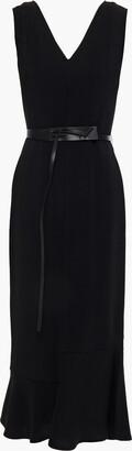 Victoria Beckham Belted Stretch-crepe Midi Dress