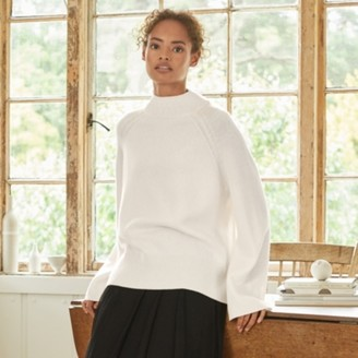 The White Company Funnel-Neck Jumper with Cashmere, Porcelain, Extra Small