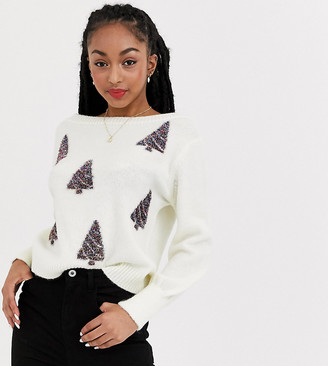 Asos Petite DESIGN Petite charity christmas tree sweater for foundation-Cream