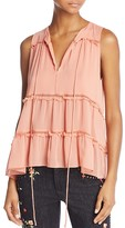 Alice + Olivia Massie Tie-Neck Tiered Ruffle Blouse