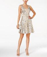Betsy & Adam Sequined Mesh A-Line Dress