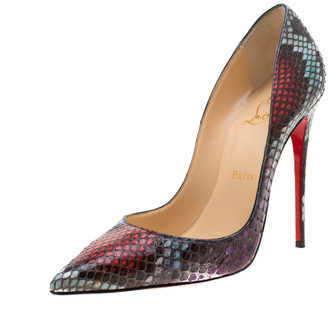 Christian Louboutin Multicolor Python Leather So Kate Pointed Toe Pumps Size 37.5