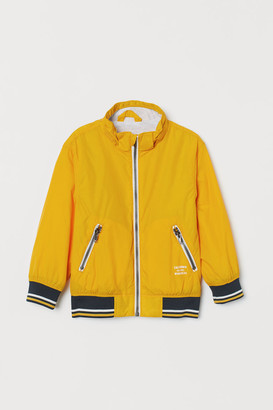 H&M Jersey-lined Nylon Jacket - Yellow