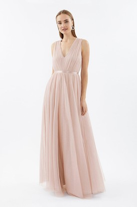 Coast V-Neck Mesh Banded Maxi Dress