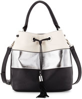 French Connection Jill Drawstring Striped Bag,Black/Stone/Silver