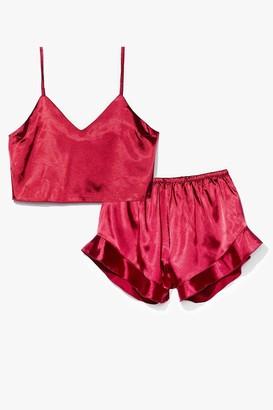 Nasty Gal Womens Sheen It Coming Satin Shorts Pajama Set - Wine