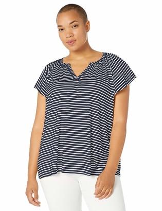 Chaps Women's Plus Size Striped Cotton Modal Top