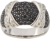 Private Label Sterling Silver Black and White Diamond and Sapphire Ring Size 7