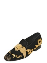 Lion Embroidered Velvet Slip On Loafers