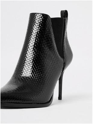 River Island Wide Fit Skinny Heel Ankle Boot - Black