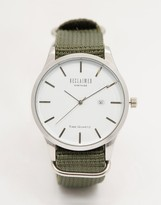 Reclaimed Vintage Logo Military Watch In Green Canvas