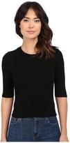 Michael Stars 2X1 Rib Elbow Sleeve Crop Women's Short Sleeve Pullover