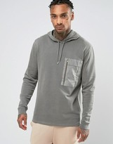 Asos Hoodie With Woven Chest Pocket & Gold Zip