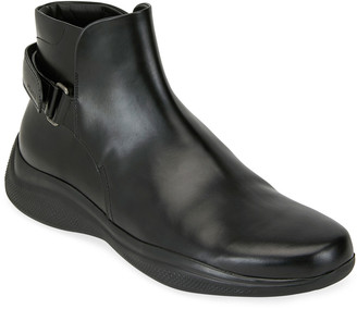Prada Men's Spazzolato Leather Combat Boots
