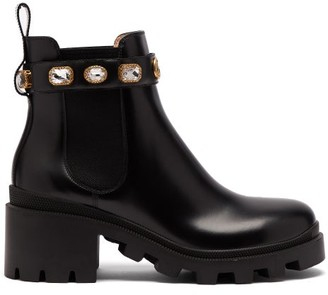 Gucci Trip Embellished Leather Chelsea Boots - Womens - Black