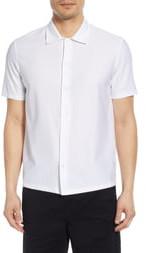 Theory Isak Short Sleeve Button Up Knit Shirt