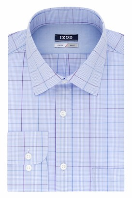 Izod Men's Dress Shirts Slim Fit Plaid