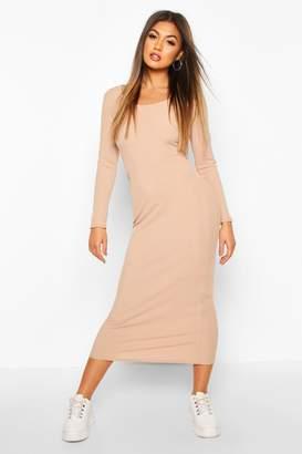 boohoo Scoop Neck Long Sleeve Ribbed Midaxi Dress