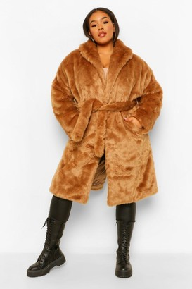 boohoo Plus Luxe Shawl Collar Belted Faux Fur Coat