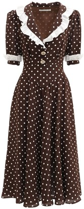 Alessandra Rich Polka Dots Ruffled Silk Midi Dress