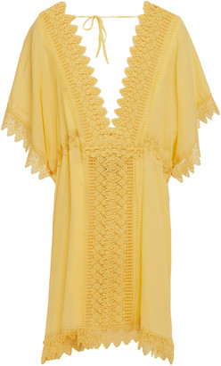 Charo Ruiz Ibiza Alaya Crocheted Lace-paneled Cotton-blend Voile Kaftan