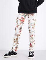 McQ Floral-print mid-rise stretch-cotton trousers
