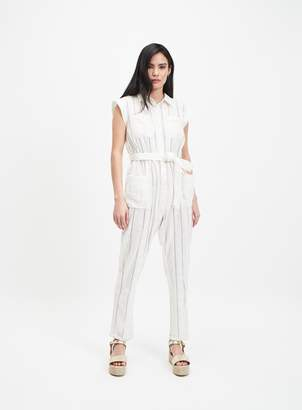 Miss Selfridge Ivory Sleeveless Utility Jumpsuit with Linen