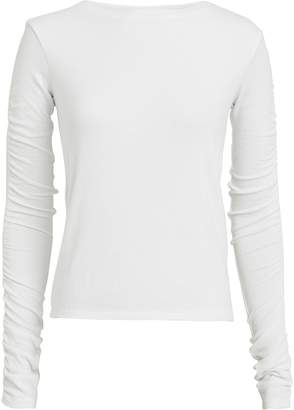 Veronica Beard Clement Ruched Sleeve Crewneck Top