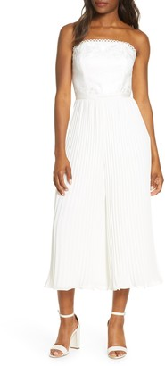 Adelyn Rae Annabelle Pleated Strapless Lace Culotte Jumpsuit