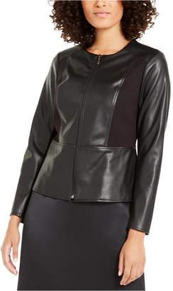 Alfani Mixed Faux-Leather Ponte-Knit Peplum Jacket