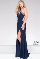Jovani High Slit Halter Neckline Prom Dress with Gold Beading JVN45563