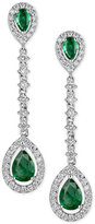 Macy's Emerald (1-3/4 ct. t.w.) & Diamond (7/8 ct. t.w.) Drop Earrings in 14k White Gold