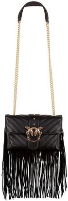 Pinko Mini Love Fringed Leather Bag
