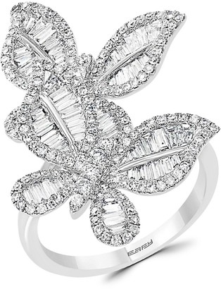 Effy 14K White Gold Diamond Butterfly Ring
