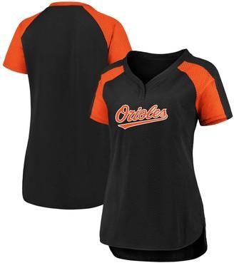 Women's Fanatics Branded Black/Orange Baltimore Orioles Plus Size Iconic League Diva Raglan V-Neck T-Shirt