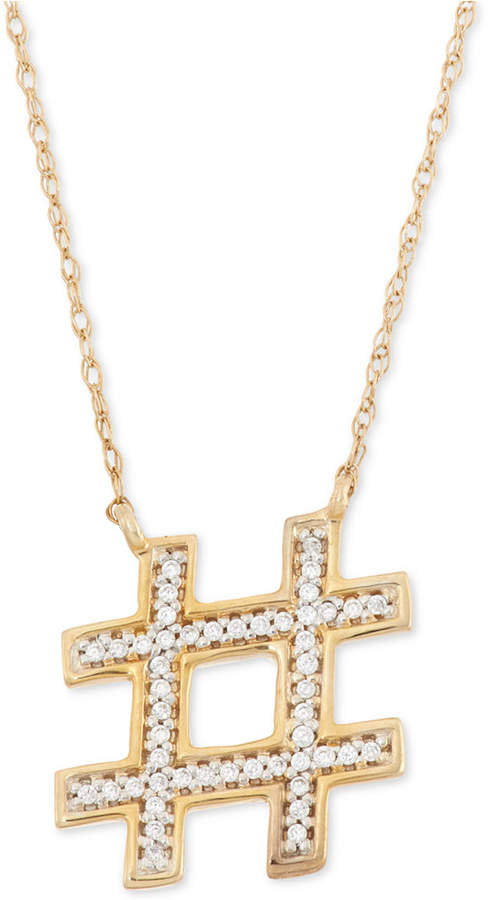 Wrapped Hashtag Diamond Pendant Necklace (1/10 ct. t.w.) in 10k Gold, Created for Macy's