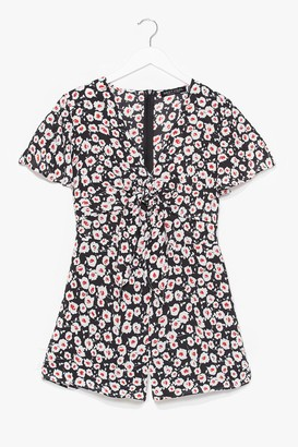 Nasty Gal Womens Would We Tie to You Floral Playsuit - Black - S, Black