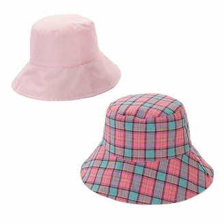 Xiang Ru Lattice Wide Brim Foldable Double Sided Wear Sun Protection Hat Bucket Caps for Women Pink