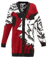 MSGM Rose-jacquard Longline Wool-blend Cardigan - Womens - Red Multi