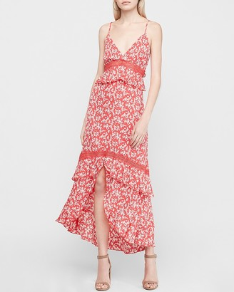 Express Printed Lace Pieced Tiered Hi-Lo Maxi Dress