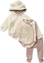 Jessica Simpson Faux Fur Hoodie, Long Sleeve Bodysuit, & Bottom Set (Baby Girls)