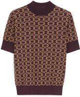 Mulberry Cheryl T-Shirt Aubergine Wool and Silk Jacquard