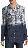 Tolani Emma Long-Sleeve Dip-Dyed Plaid Button-Front Shirt, Plus Size
